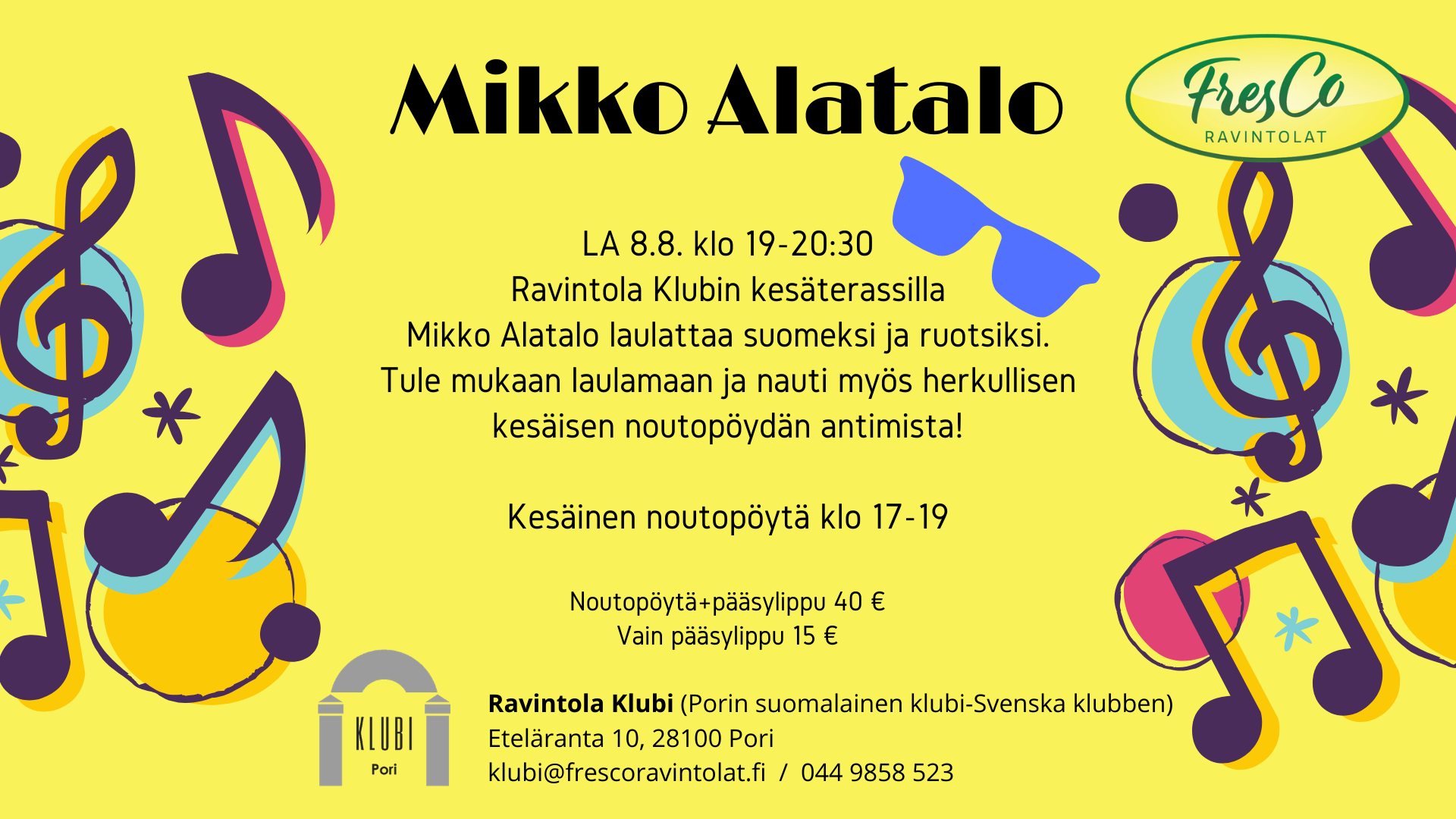 Mikko Alatalo laulattaa ravintola Klubin terassilla LA 8.8.